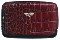 Tru Virtu Leather Card Case Croco Bordeaux Tassel