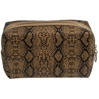 Toilettas/make-up tas slangen print bruin 18 cm voor dames Grijs
