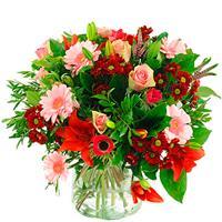 debloemist Boeket roze rood