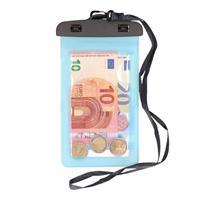 Bellatio 2x Waterdichte geldbuidel/ moneybelt nektasje blauw Blauw