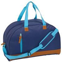 Sporttas/reistas donkerblauw met kunstleer 50 cm Blauw