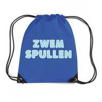 Zwemspullen rugzakje / zwemtas met rijgkoord blauw Blauw