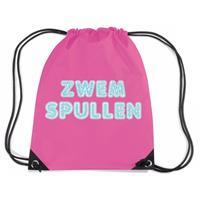 Bellatio Zwemspullen rugzakje / zwemtas met rijgkoord fuchsia roze Fuchsia
