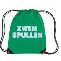 Zwemspullen rugzakje / zwemtas met rijgkoord groen Groen