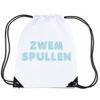 Bellatio Zwemspullen rugzakje / zwemtas met rijgkoord wit Wit