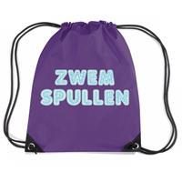Bellatio Zwemspullen rugzakje / zwemtas met rijgkoord paars Paars