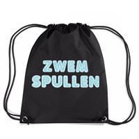 Bellatio Zwemspullen rugzakje / zwemtas met rijgkoord zwart Zwart