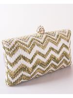 bouffante Box clutch met zig-zag patroon en strass sluiting