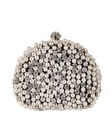 bouffante Zwarte box clutch met strass en pareltjes