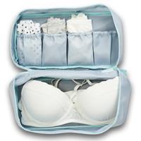 Zellers Grijs/blauw lingerie/ondergoed tasje met make-up tasje 27 cm - Toilettassen