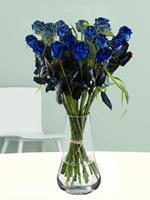 20 blauwe rozen met panicum | Rozen online bestellen & versturen | .nl