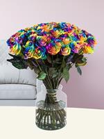50 regenboog rozen | Rozen online bestellen & versturen | .nl