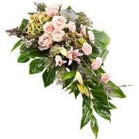 Rouwarrangement roze - groen