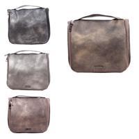 Merkloos Toilettas/make-up tas zwart metallic voor dames