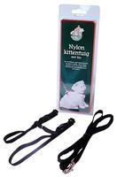 Nylon kittentuig met lijn zwart