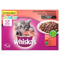 Whiskas multipack pouch junior classic selectie vlees in saus