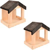 2x Vogelhuisjes/muurvoederhuisjes 23.2 cm Bruin