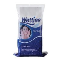 Wetties Pocket Verfrissingdoekjes (2x10st)