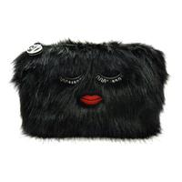 W7 Make-Up/Toilettas - Embroidered Furry Black