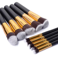 Glamza Make Up Kwasten Set Zwart / Goud - 10 Stuks