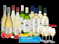 Verschiedene Weißwein-Vorteilspaket Herbstfreude mit 10 Flaschen und 4 Weingläsern