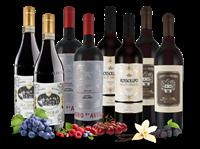 Verschiedene Italiens rote Weinperlen mit 8 Flaschen