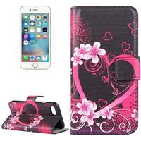 Voor iPhone 7 Perzik bloesem hart patroon lederen hoesje ontmoette houder & opbergruimte voor pinpassen & portemonnee