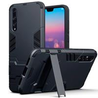 Double Armor Layer hoes met stand - Huawei P20 Pro - zwart