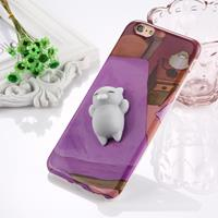 For iPhone 6 Plus & 6s Plus 3D Lovely Cat Pattern Squeeze Relief IMD Workmanship Squishy Dropproof Protective Back Cover Case