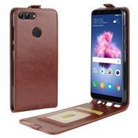 Huawei P Smart Verticale Flip Cover met Creditcard-slot - Bruin