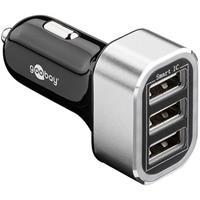 Driedubbele USB autolader 5,5A Zilver