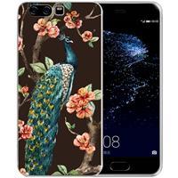 Uniek TPU Hoesje Pauw met Bloemen Huawei P10 Plus