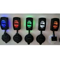 Car Motorcycle Dual USB Port Charge with Dustproof Cover and LED Light(Random Color Delivery)