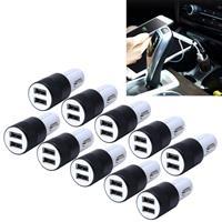 10 PC's auto Auto 5V Dual USB 2.1a / 1A sigaretten aansteker Adapter voor de meeste Phones(Black)