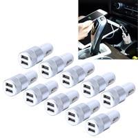 10 PC's auto Auto 5V Dual USB 2.1a / 1A sigaretten aansteker Adapter voor de meeste Phones(Silver)
