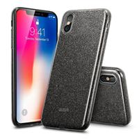 iPhone XS hoes zwarte glitters chique design zacht TPU