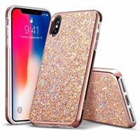 iPhone XS hoes roze glinsters chique design zacht