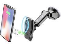 Cellularline MAG4PFWIRK Zuignap Auto-telefoonhouder 360° draaibaar, Met inductielader, Magneetbevestiging