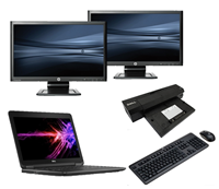 "dell Latitude E7250 - Intel Core i5 - 8GB - 120GB SSD + Docking + Dual 2x 23"" Widescreen Full HD Monitor"