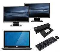 "dell Latitude E7240 - Intel Core i5 - 8GB - 120GB SSD + Docking + Dual 2x 23"" Widescreen Full HD Monitor"