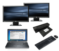"dell Latitude E6520 - Intel Core i5 - 4GB - 320GB HDD + Docking + Dual 2x 23"" Widescreen Monitor"