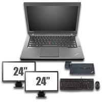 "lenovo Thinkpad T440 - Intel Core i5 - 4GB - 320GB HDD + Docking + Dual 2x 24"" Widescreen Monitor"