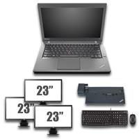 "lenovo Thinkpad T440 - Intel Core i5 - 4GB - 320GB HDD + Docking + Dual 3x 23"" Widescreen Monitor"