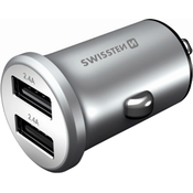 Swissten Car Charger Adapter 4,8A 2x USB Metal Compact Silver 20114100