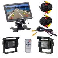 PZ-607-2 Draadloze achteruitrijcamera Dual Backup Camera en Monitor Infrarood Nachtzicht Achteruitrijcamera met 7 inch HD Monitor