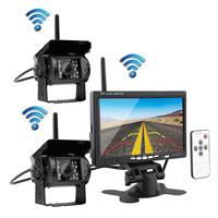 PZ-607-W-2 2 Monitor Beveiligingscamera's 2.4GHz Draadloos Voertuig, Infrarood Nachtzicht Achteruitrijcamera + 7 inch Monitor voor campers RV Vrachtwagenaanhangwagen