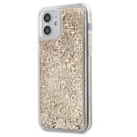 Guess 4G Liquid Glitter iPhone 12 Mini Hybride Hoesje - Goud