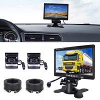 F0505 7 inch HD auto dubbele camera achteruitkijkspiegel monitor, met 2 x 10m kabel