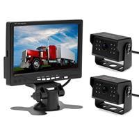 A1510 7 inch HD Auto 12 IR Nachtzicht Achteruitrijcamera Back-up Dubbele camera Achteruitkijkmonitor, met 15m kabel