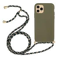 Backcover hoes met koord - iPhone 13 - Army Groen
